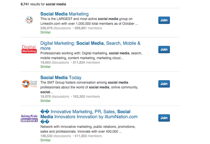 linkedin group results