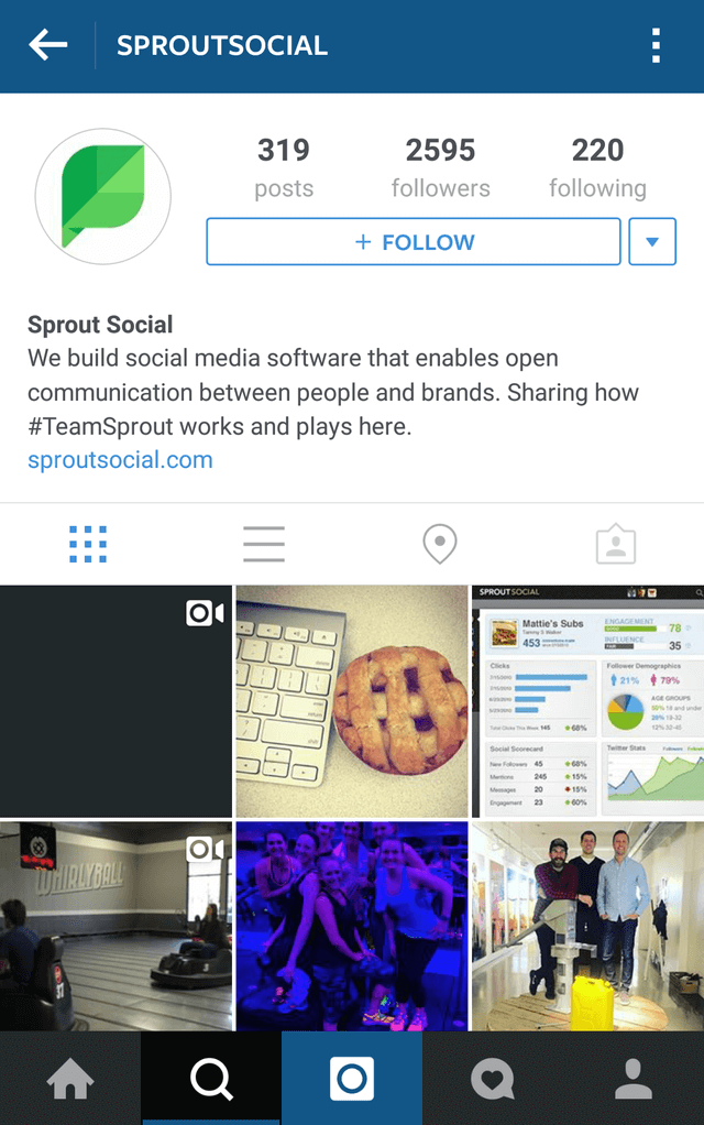 instagram mobile interface