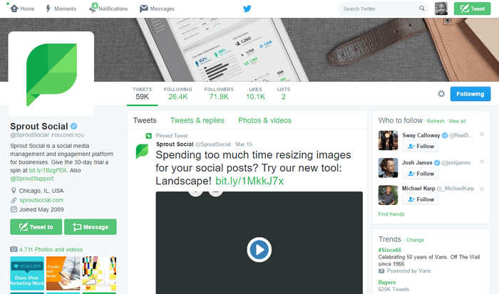 twitter desktop interface