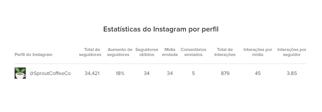 Estatísticas do Instagram por perfil