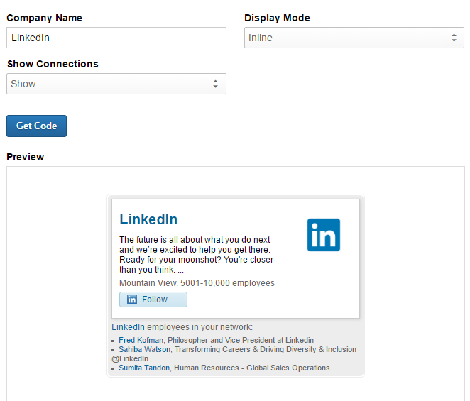 LinkedIn Social Media Buttons