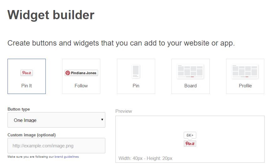 Pinterest Social Media Widget Builder