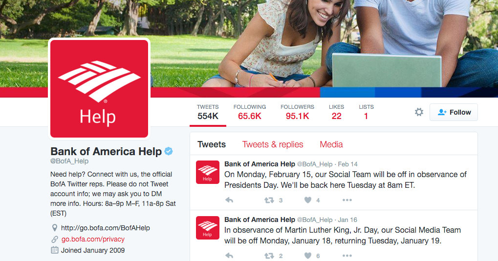 bank of america twitter customer support