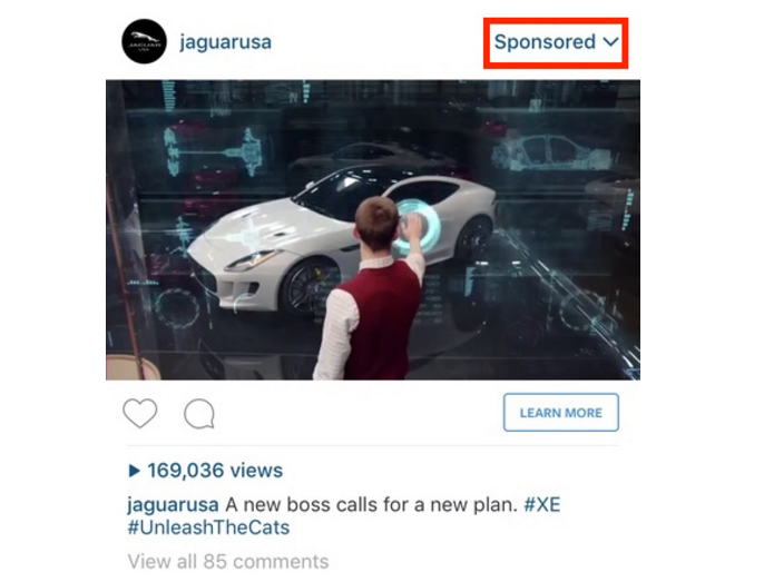jaguar sponsored ad example