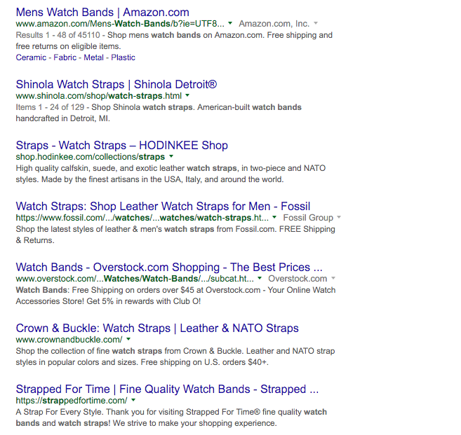 watch straps google serp