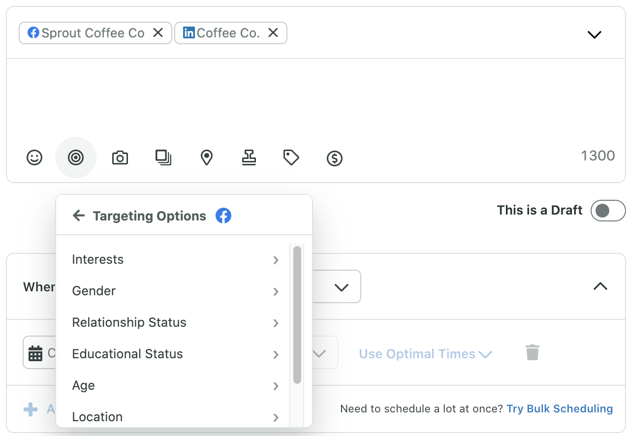 sprout compose window showing targeting options