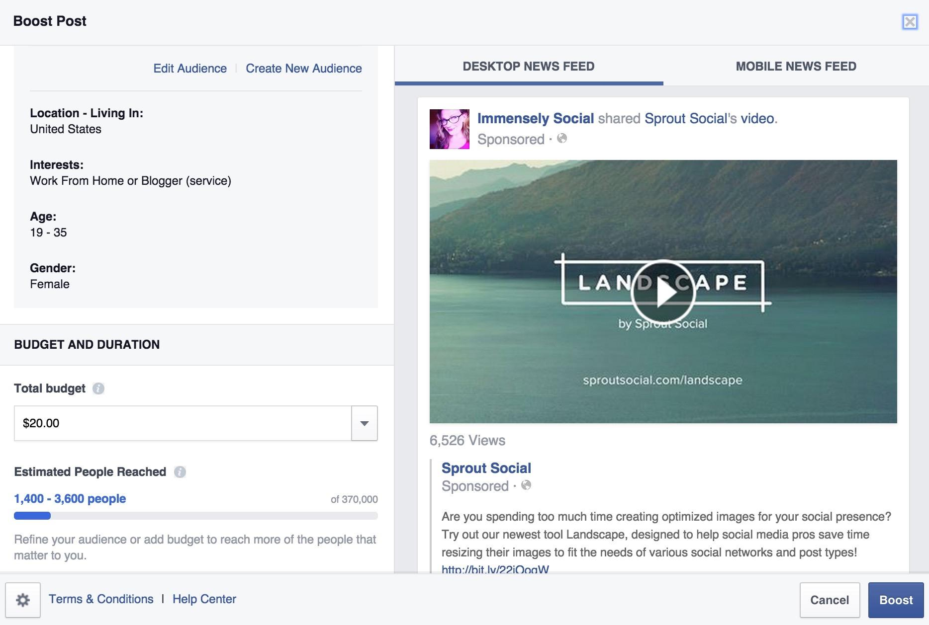 landscape facebook example