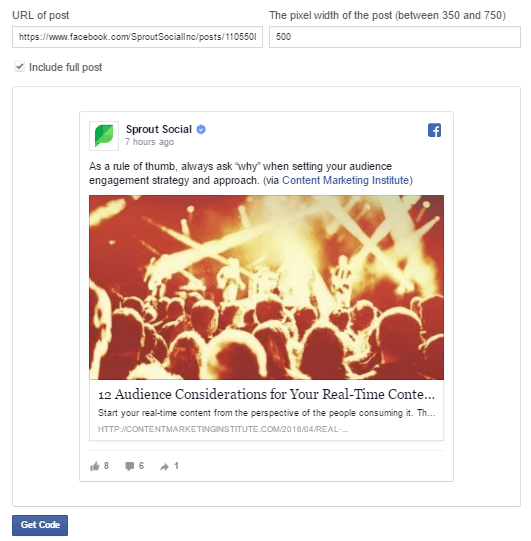 Facebook Embed Advanced Settings