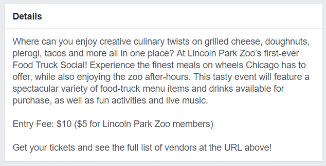 Facebook Events Description