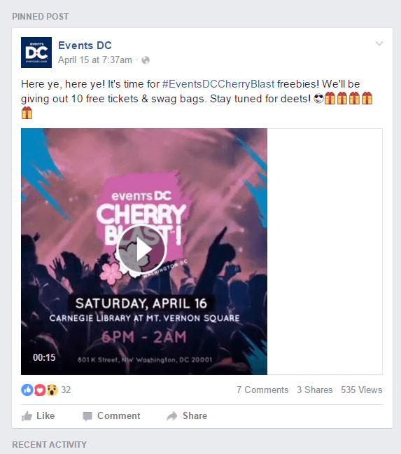Facebook Events Pinned Post