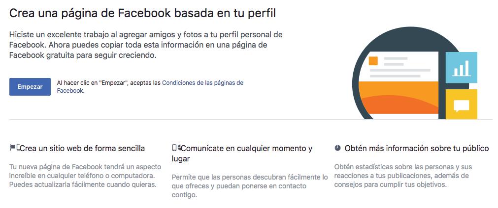 Covertir perfil en página de Facebook