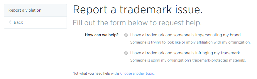Twitter Username Trademark Violations