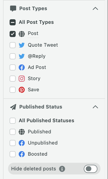 filtering types of Facebook posts in Sprout