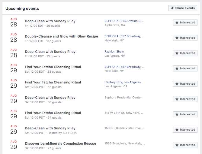example of calendar of upcoming fb events