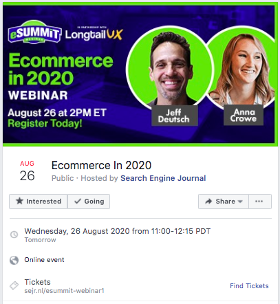 facebook example of marketing event with brand colors and topic text