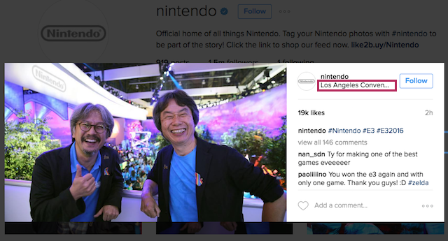 Nintendo Instagram Location