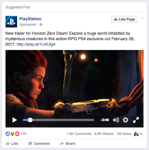 PlayStation Facebook Ad