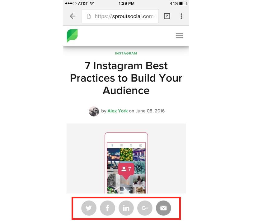 social media buttons example