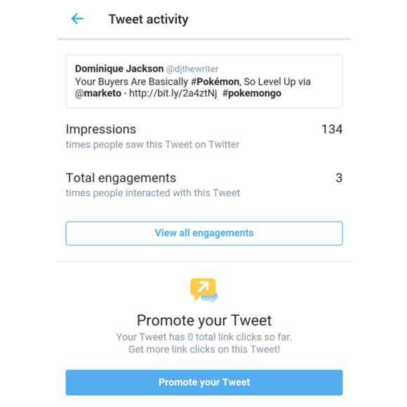 tweet activity stats on mobile