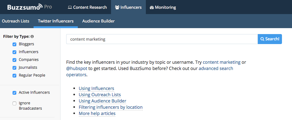 Finding Influencers Buzzsumo