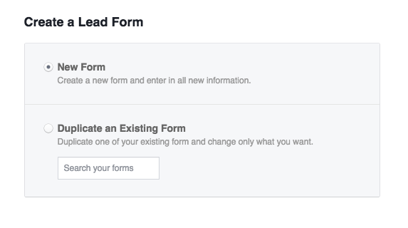 create facebook lead generation form