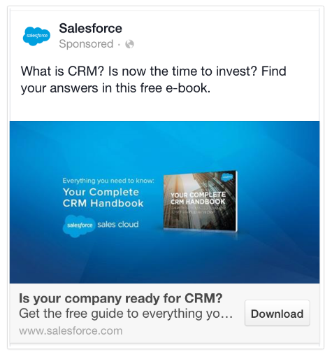 Salesforce Facebook Lead Generation Ad