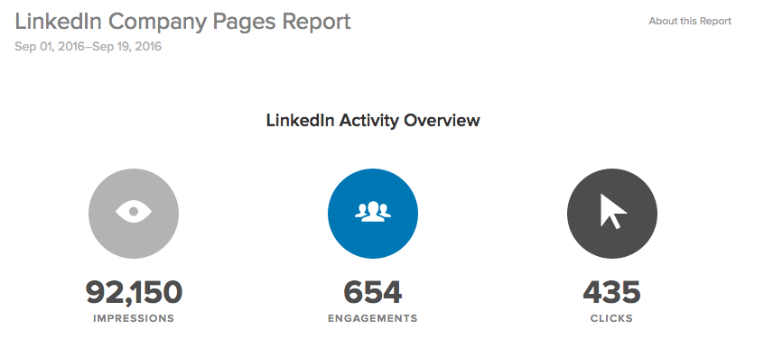 linkedin company pages report