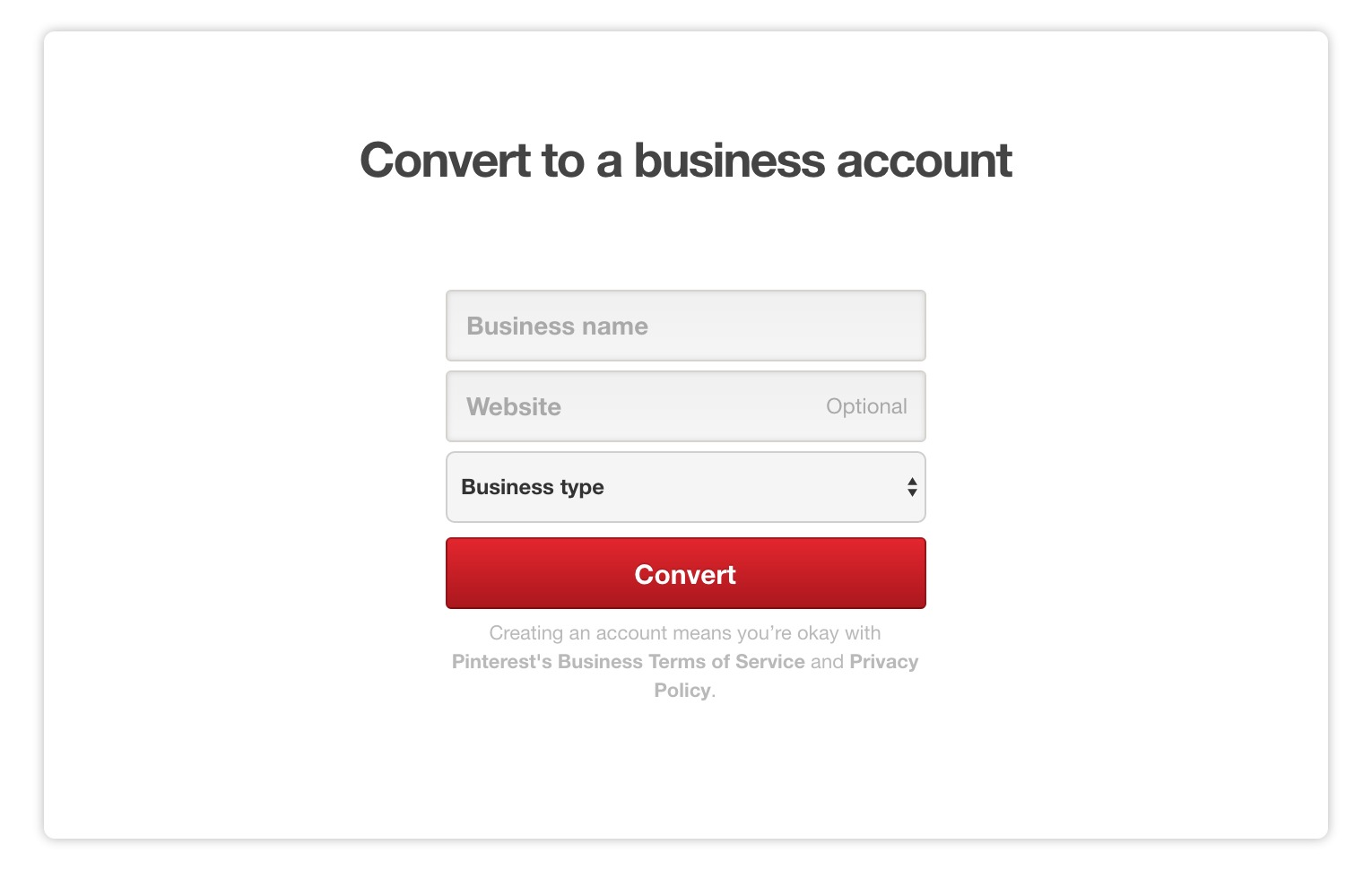 convert to Pinterest business account