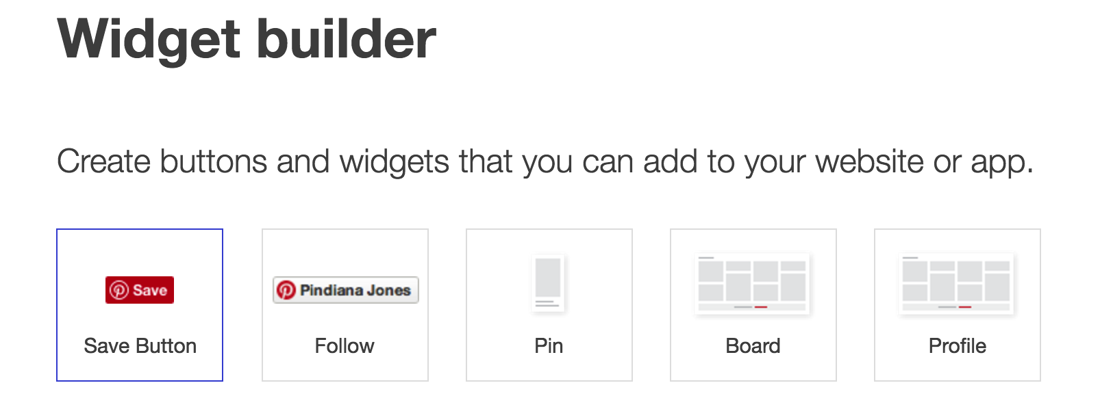 pinterest widget builder