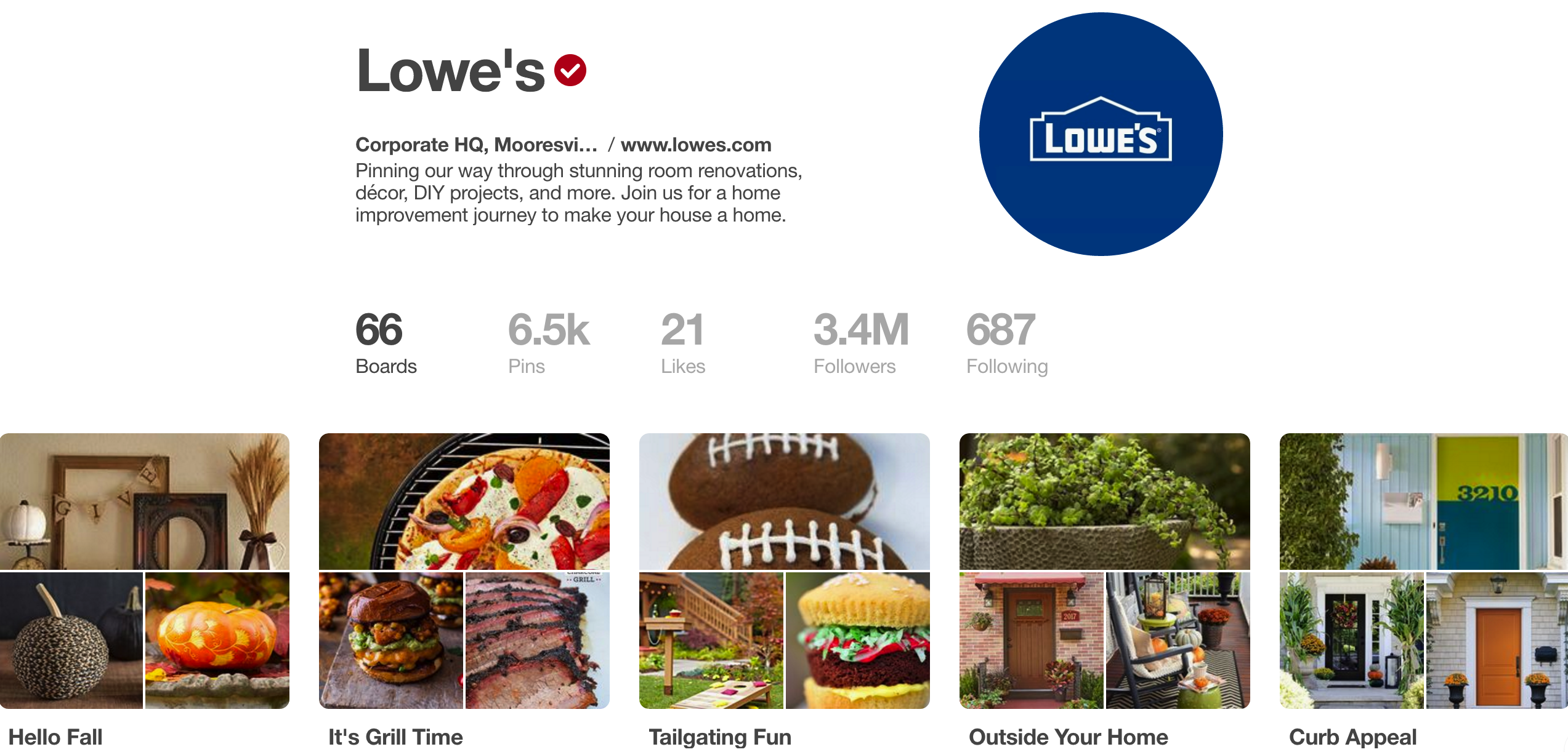 lowes pinterest account