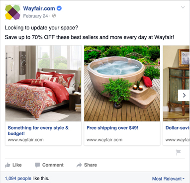 wayfair carousel ads