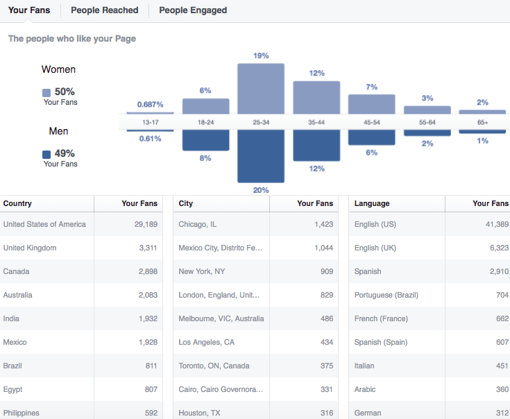 facebook demographic metrics
