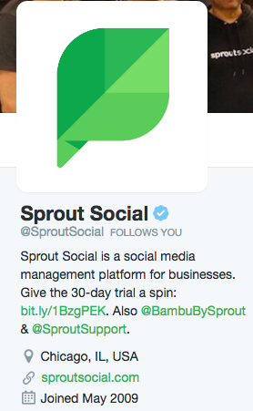 sprout social twitter profile