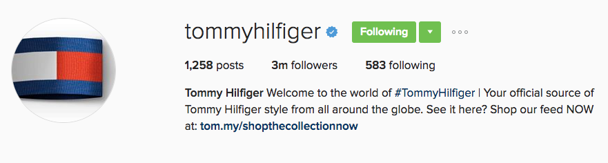 tommy hilfiger instagram example