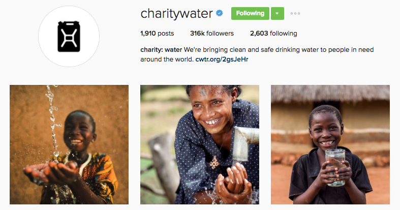 charity water instagram profile