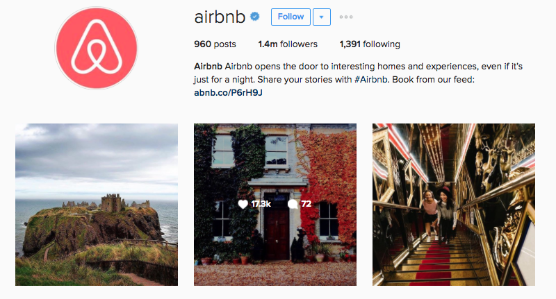 airbnb instagram example