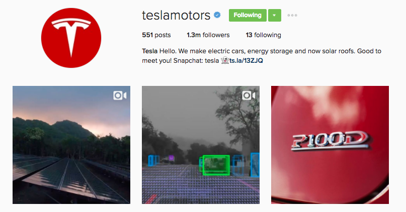 tesla instagram profile