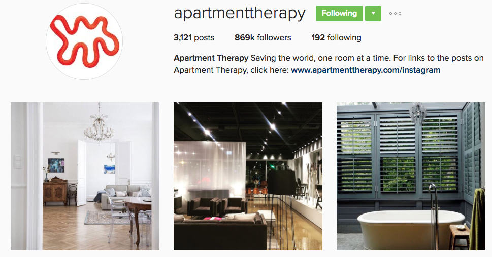 apartment therapy instagram profile