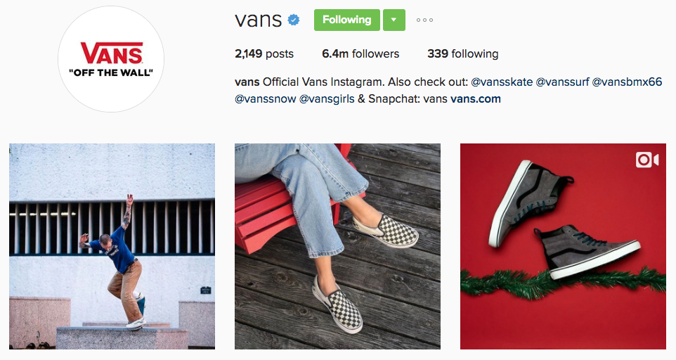vans instagram profile