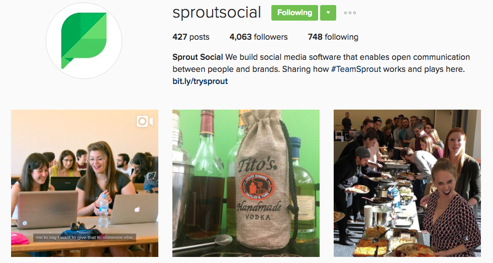 sprout social instagram profile
