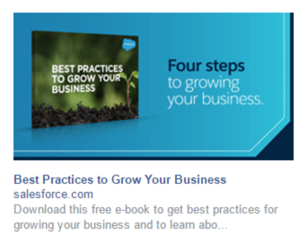 facebook landing page salesforce ad