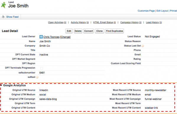 salesforce utm tracking