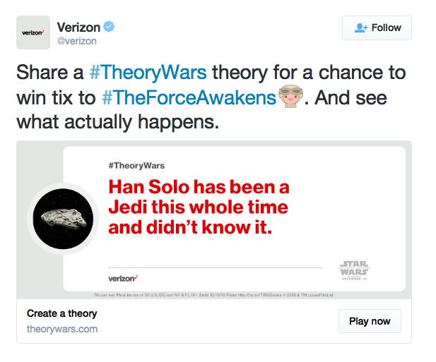 verizon promoted tweet hashtag