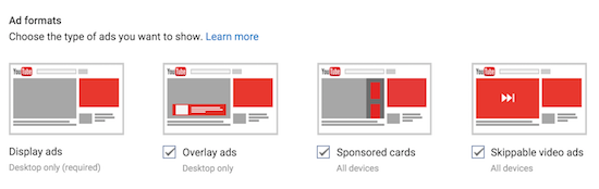 youtube ads formats