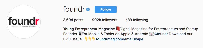 Foundr Magazine Lead Magnet in Instagram Bio