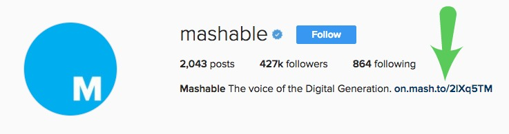 Mashable Instagram Bio Promoting Blog Post