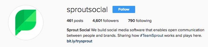 Sprout Social Instagram Bio