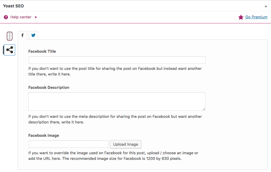 Yoast SEO Plugin Social Share Settings