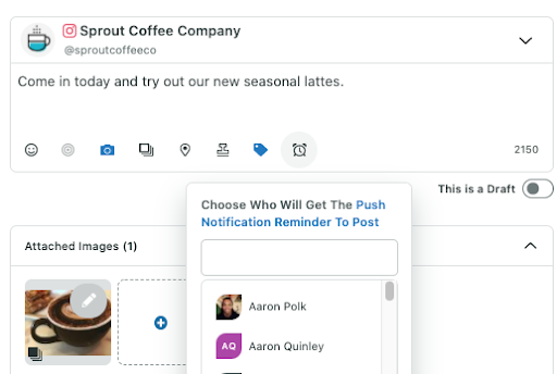 Assign to specific team member in Sprout compose