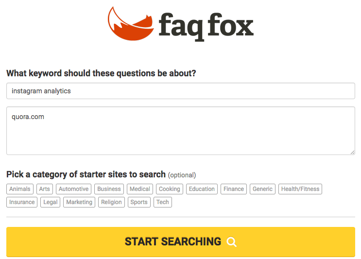 faq fox search example